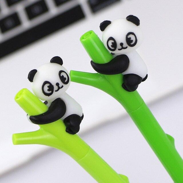 Caneta de gel de panda kawaii, 32 pçs/lote, canetas para escritório e escrita de tinta preta de bambu, artigos de papelaria