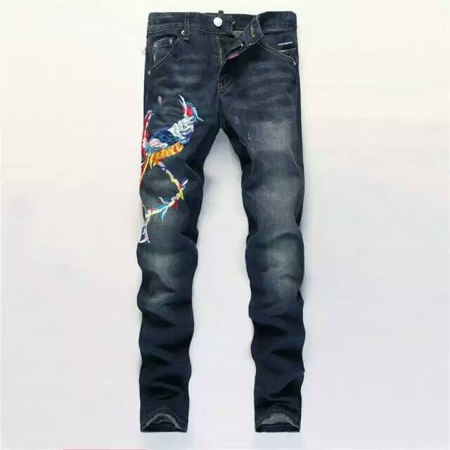 Men s clothing embroidered denim jeans patchwork eagle wings paillette decoration slim hole pants skinny vintage