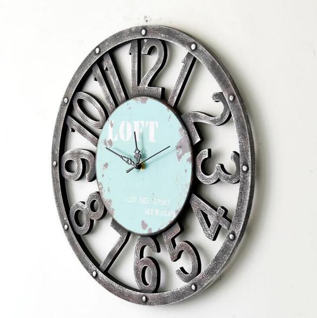 Retro Hollow Out Decorative Wall Clock Living Room Bedroom Silent No Ticking Clock 40*40CM