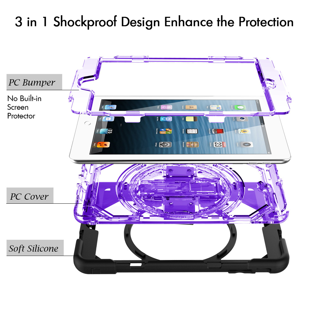 Miesherk for iPad Mini 1 2 3 Heavy Duty Shockproof Drop Protection Cover Case with 360 Degree Rotating Hand Strap Shouder Strap in Tablets e Books Case from Computer Office