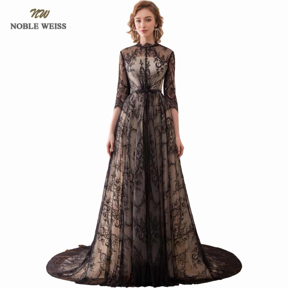 NOBLE WEISS Sexy A-Line Evening Dresses With 3/4 Sleeves Black Lace Prom Gown Robe de Soiree 2019 Formal Special Occasion Gowns