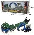 1:50 Aleación materiales Remolques excavadoras combinación Paquete de Regalo modelo de Coche Modelo de Camión Tractor Remolque de Cama Plana con Tracto