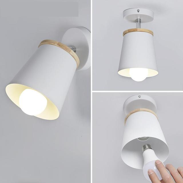 Led Simple Modern Creative Lighting Iron Wooden Bedroom Living Room Staircase Aisle Lamp Ceiling Lamp All-match Lamps