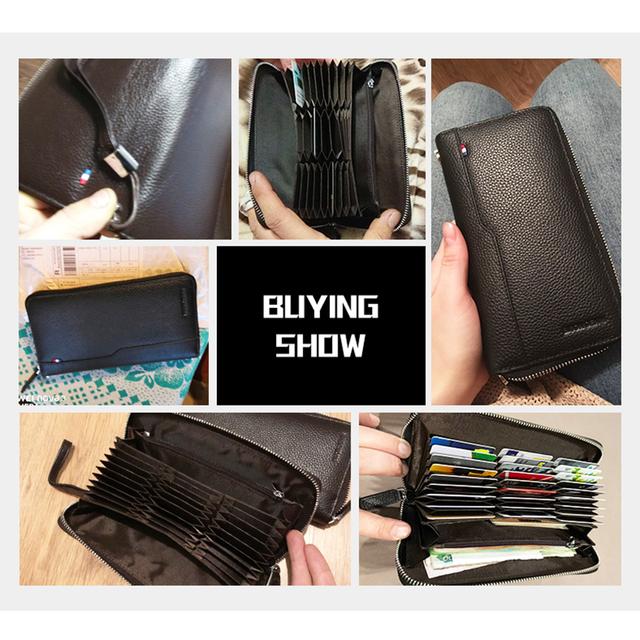 BISON DENIM Genuine leather Men Wallets RFID Zipper Coin Pocket Long Purse Passport Cover For Men Card Holder Purse W8226