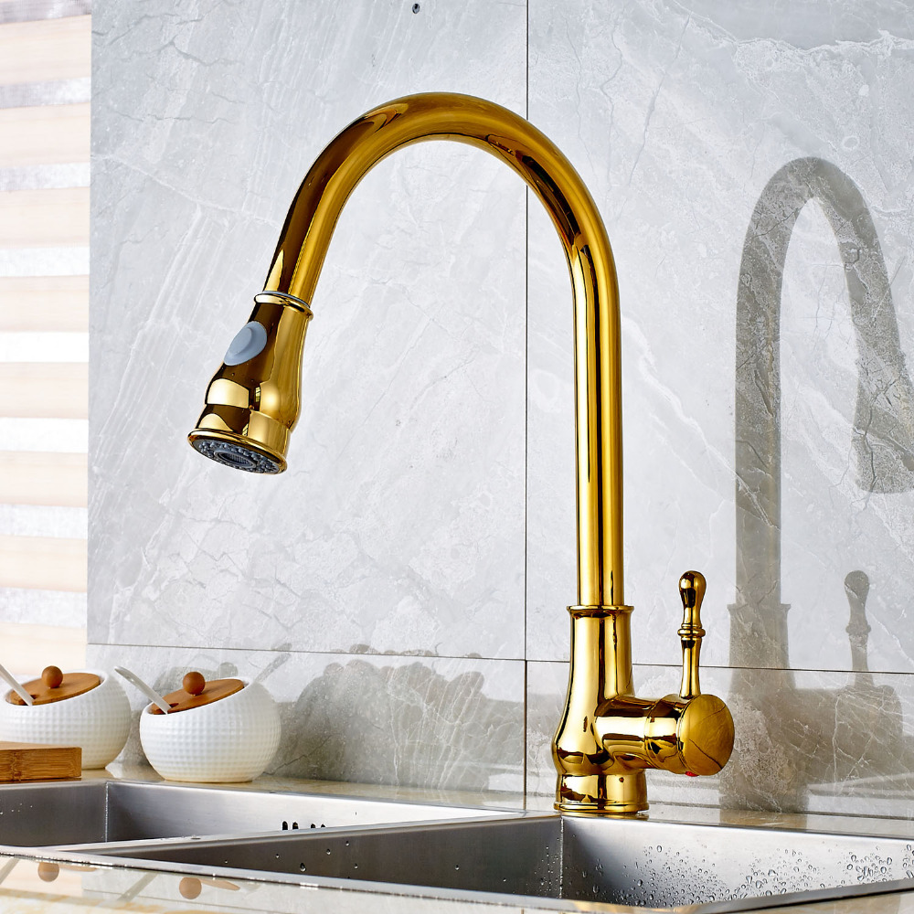 Luxury Gold Brass Finish Kitchen Sink Faucet Pull Out Sprayer Single Lever One Hole Mixer Faucet Deck Mount