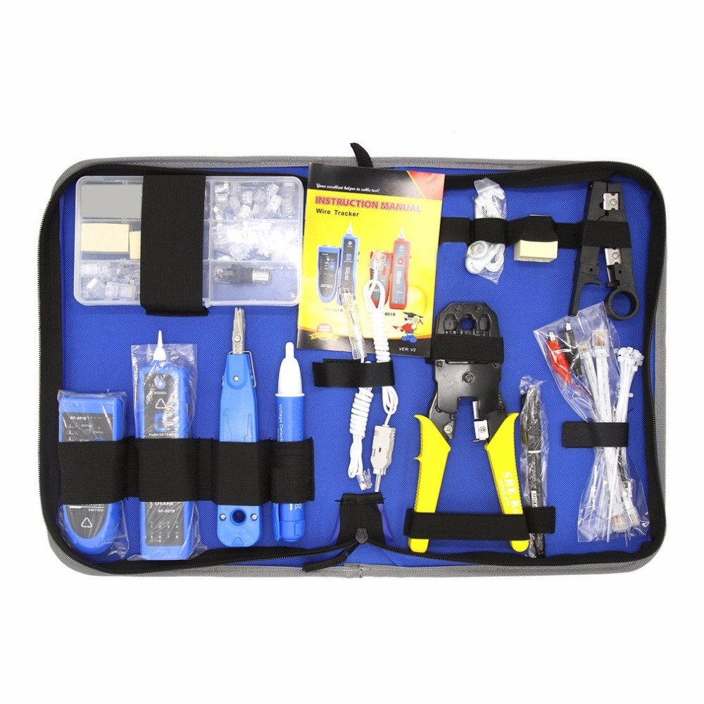 NF-1501 Network Computer Maintenance Repair Tool Kit With Wire Stripper Wire Tracker Krone Punch Down Tool Crimping Tool Set pz0 5 16 0 5 16mm2 crimping tool bootlace ferrule crimper and 1k 12 awg en4012 bare bootlace wire ferrules