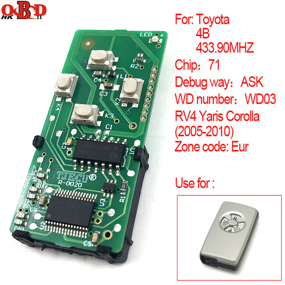 HKOBDII For Toyota  2005 2010 RV4 Yaris Corolla WD03 Smart Remote Car Key Board 433.90MHz Chip 71(271451 0111 Eur)-in Car Key from Automobiles & Motorcycles    1