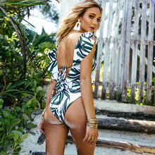 Ruffle One Piece Push Up Print Backless Bathing Suit
