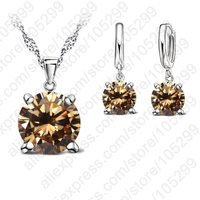 2015 Selling 925 Sterling Silver Jewelry Sets 4 Claws Cubic Zirconia CZ Pendant Necklace Earring Fashion