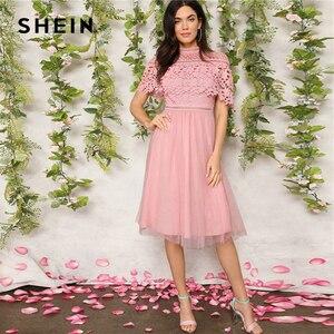 Image 4 - SHEIN élégant rose Guipure dentelle superposition maille ourlet Midi fête robe dété femmes 2019 ajustement et Flare une ligne solide robes douces