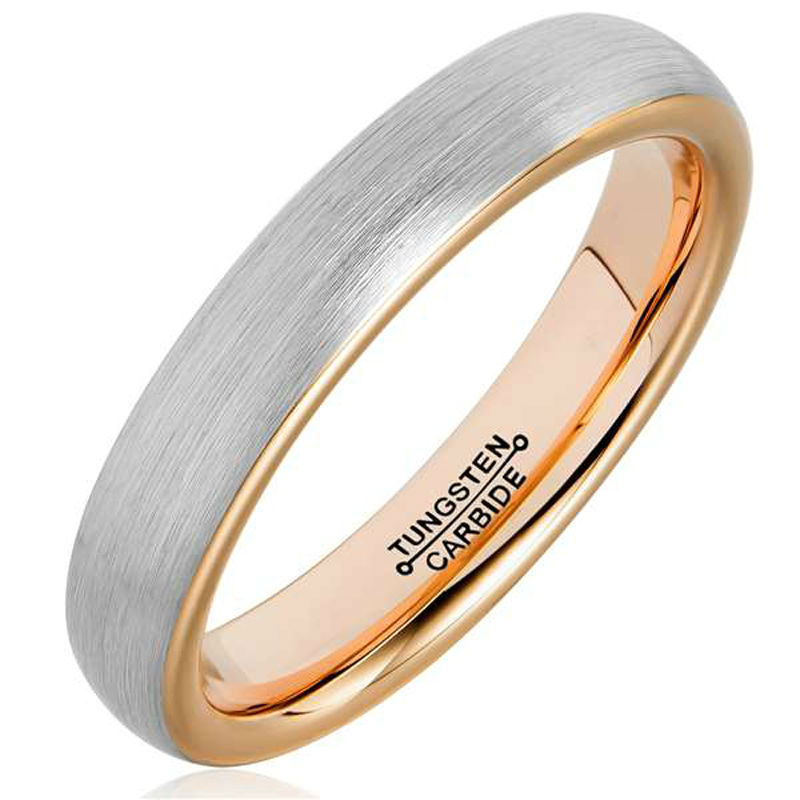 Tungsten Wedding Band Rings 4mm for Man Woman Comfort Fit Rose Gold Plated Domed Brushed