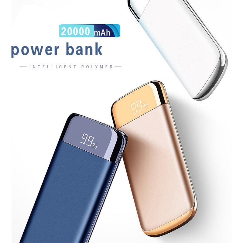 Wireless Dual USB Charger Power Bank 20000mah Portable with Digital Charger Display External Battery Power bank For iphone X 8 мужские часы bering ber 12138 166