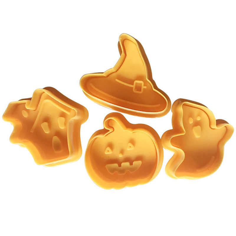 4 Pieces / Set Cookie Stamp Biscuit Mold 3D Cookie Diver DIY Cutter Baking Mold Halloween Cookie Cutters for Kitchen Baking Tool