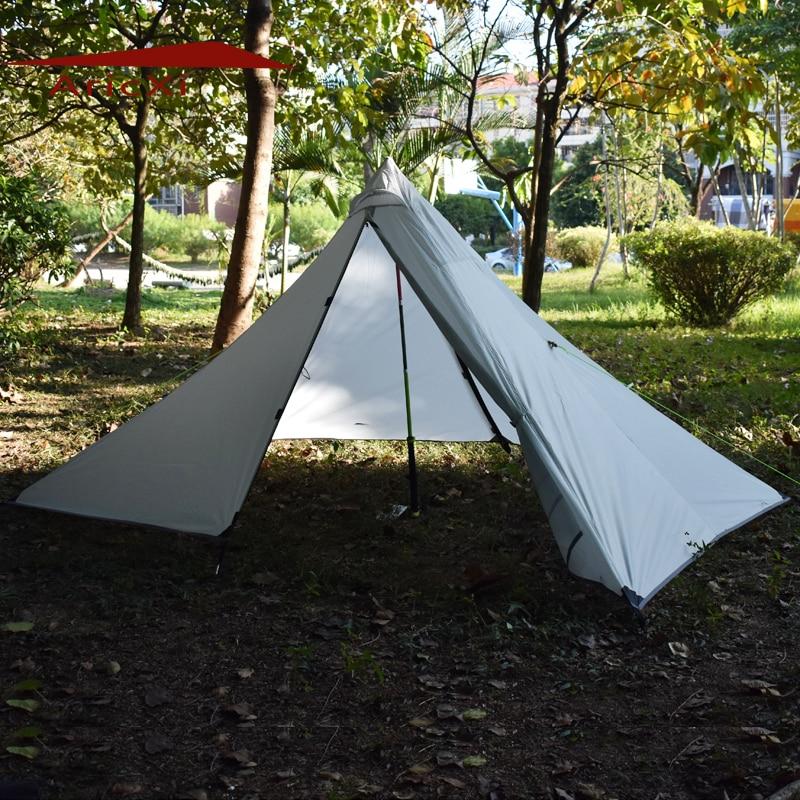 2017 Camping Tent Ultralight 1-2 Person Outdoor 210T PU Coating Rodless Pyramid Large Tent Camping 4 Season 995g camping inner tent ultralight 3 4 person outdoor 20d nylon sides silicon coating rodless pyramid large tent campin 3 season