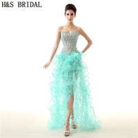 H&S BRIDAL Sweetheart High Low dress evening party Backless Top Green Lace Evening Dress Organza Tiered long dress evening