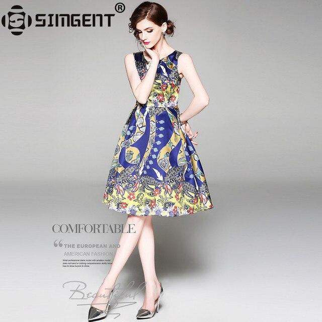 dd20f686c43 Simgent New Summer Women Sleeveless Printing Elegant One Neck Slim Tank  Dress Woman Clothes Vestidos Robe Femme Vestidos SG84104