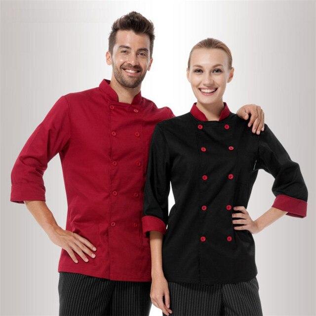 Comercio al por mayor Al Por Menor Logotipo Personalizado de Manga Larga  Uniforme Del Cocinero Checkedout 45107c214c71a