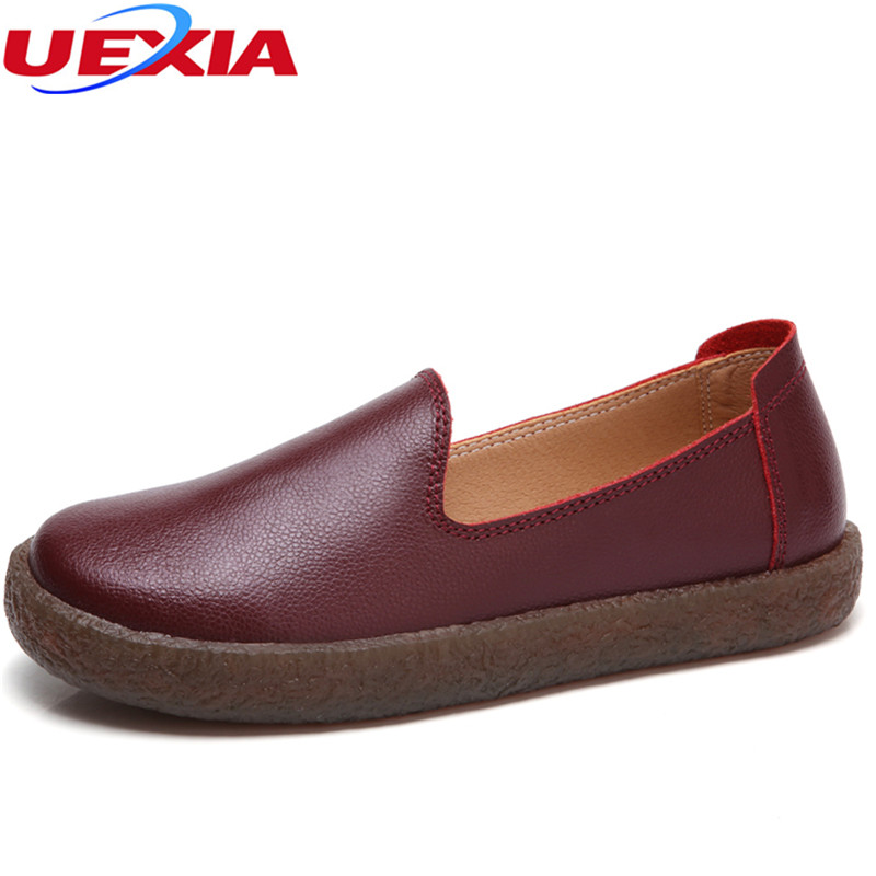 UEXIA 2018 Fashion Women Flats Rubber sole Leather Loafers Summer Women Casual Shoes Flat Comfortable Slip On Moccasins Zapatos 2017 autumn fashion real leather women flats moccasins comfortable summer ladies shoes cut outs loafers woman casual shoes st181