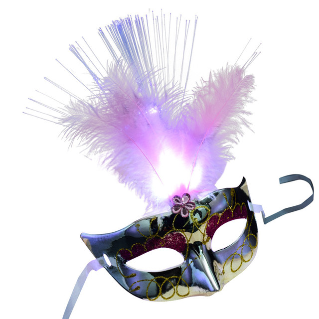 Exquisite Venetian Feather Party LED Mask