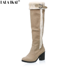 LALA IKAI Women Knee High Winter Boots Warm Plush Fur Snow Boots Med Heels Suede Knee High Boots Women Winter Shoes XWN0483-5