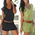 Женская мода Комбинезон V Шеи С Коротким Рукавом Sexy Боди Комбинезоны Комбинезон Для Дамы Девочек Combinaison Femme Пляжной Одежды S-XL