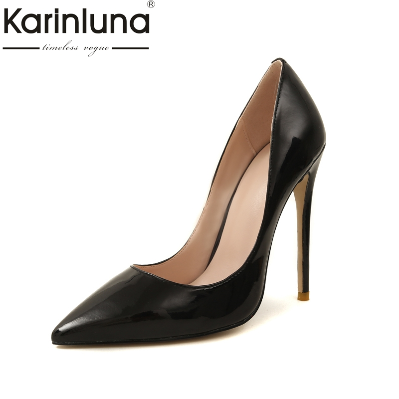 Karinluna Large Size 33-43 Top Quality Genuine Leather Brand Design Summer Pumps Shoes Women Sexy Thin High Heels Shoes цена