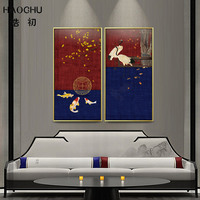 HAOCHU Chinese Style Koi Gold Apricot Tree Autumn Harvest Persimmon Tree White Crane Canvas Painting For Living Room Art Poster