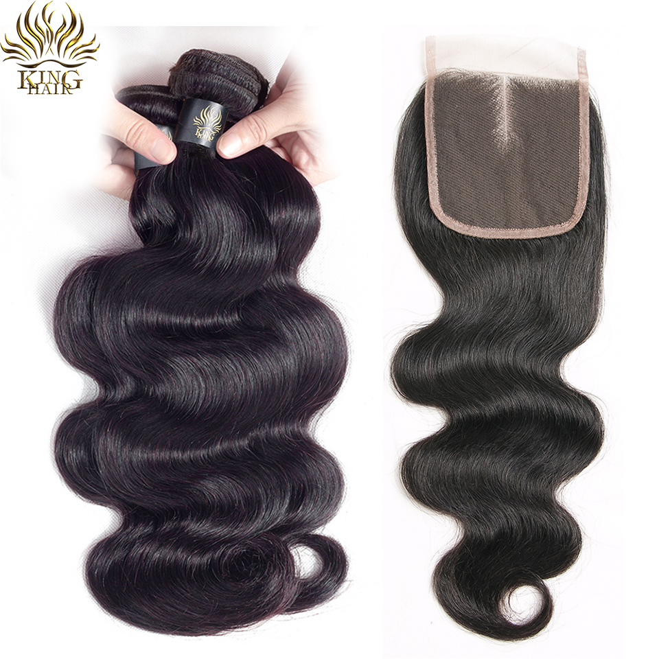 King Body Wave Brazilian Human Hair With Closure 3 Bundles Natural Color Remy Hair With Three Free Middle Part Lace Closure A