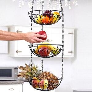 Image 1 - الخضار تخزين سلة فاكهة معلقة 3 الطبقة المطبخ متعددة الاستخدام حامل المنزل الحديد الفن المنظم الحديثة نمط رف مع سلسلة