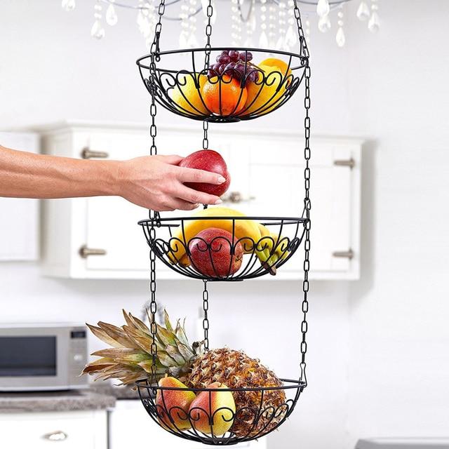 الخضار تخزين سلة فاكهة معلقة 3 الطبقة المطبخ متعددة الاستخدام حامل المنزل الحديد الفن المنظم الحديثة نمط رف مع سلسلة