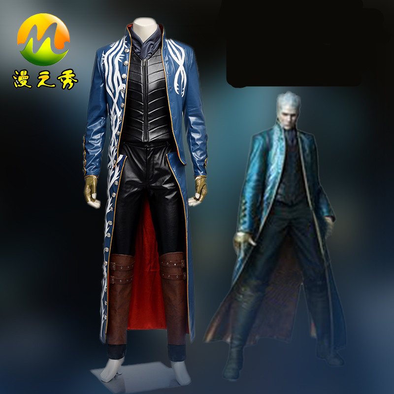 Hot Game Devil May Cry III 3 Vergil Cosplay Costume for Adults Men and Women Halloween Party Men Leather Windbreaker