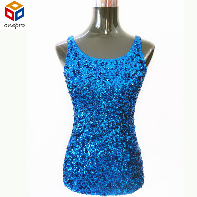 New Women Shimmer Glam Sequin Embellished Sparkle Tank Top Sexy Vest Tops Free Shipping