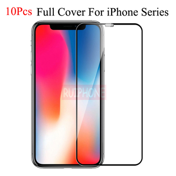 10 Pcs iPhone XS MAX XR screen protector glass on iPhone 7 X protective glass on iPhone 8 6 6S plus tempered glass full cover