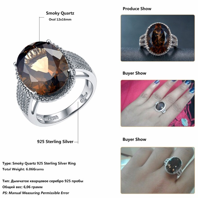 HUTANG Natural 8.3ct Stone Wedding Rings Oval Smoky Quartz Solid 925 Sterling Silver Cocktail Ring Gemstone Fine For Women Girls