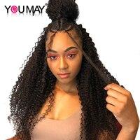 Полное кружева парики человеческих волос 130 Плотность кудрявый парик предварительно сорвал парик отбеленные узлы бразильский реми волос в