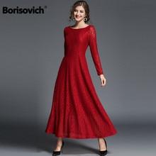 8ea843f1d4 Borisovich Mulheres Casual Vestido Longo Nova Marca 2018 Moda Outono Big  Balanço Rendas de Luxo Senhoras