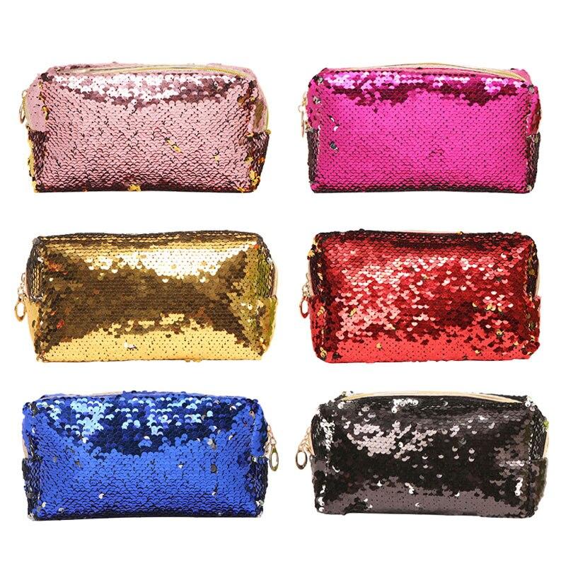 New Women Makeup Bag Sequins Zipper Brush Organizer Travel Portable Toiletry Cosmetic Bags Trousse Maquillage Femme Necessaire