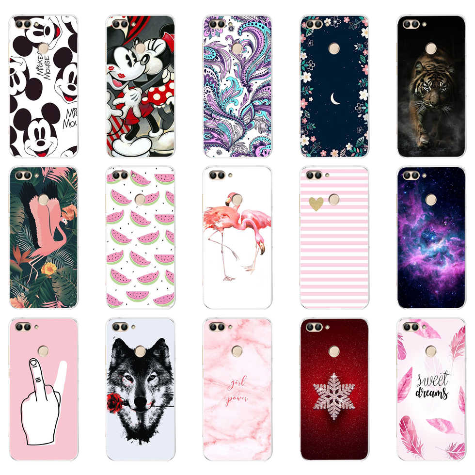 D Huawei P Smart Case TPU Zachte Siliconen Transparant Back Cover Phone Case Huawei P Smart Cover FIG-LX1 Genieten 7 S Case