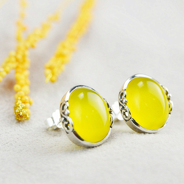925 Silver Yellow Chalcedony Earring for Women Party S925 Sterling Silver Stud Earrings Wedding Jewelry LE50