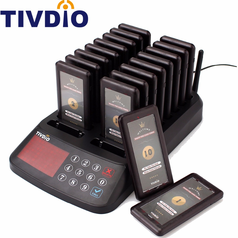 TIVDIO Wireless Restaurant Pager Guest Calling Paging Queuing System 18 Coaster Pagers Receiver +1 Keypad Transmitter F9406A 2 receivers 60 buzzers wireless restaurant buzzer caller table call calling button waiter pager system
