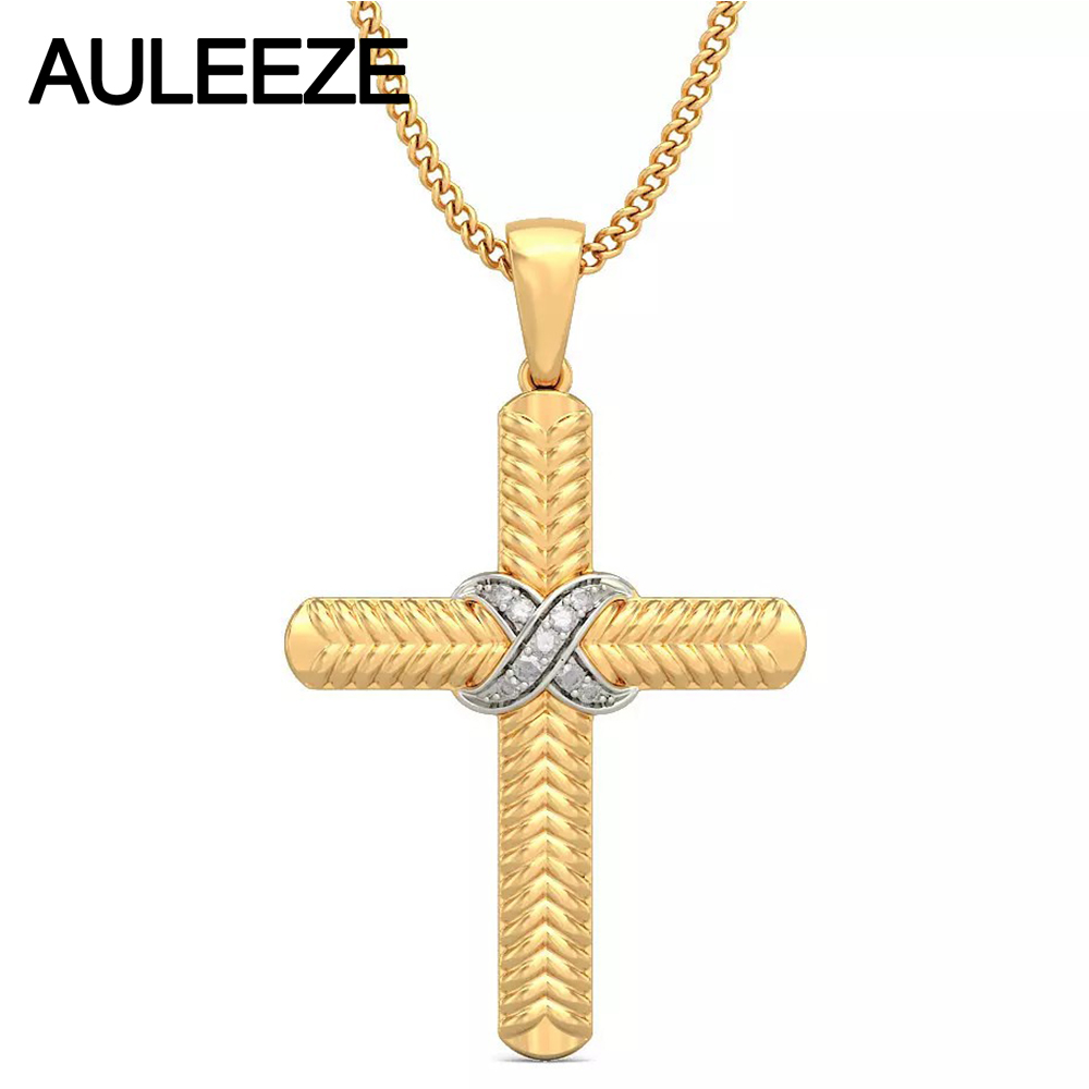 Unique Cross Twist Intersect Pendant Natural Diamond Jewelry Solid 14K Two Tone Gold Real Diamond Engagement Pendants Necklace