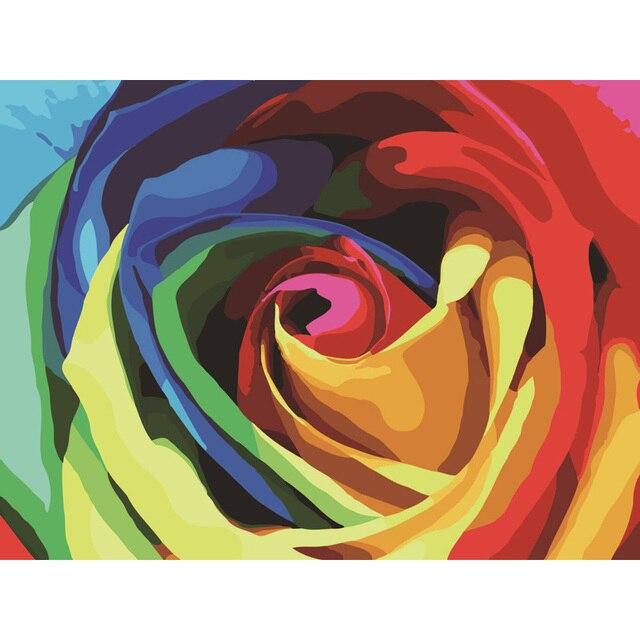 Us 765 49 Offregenbogen Rose Bild Malen Nach Zahlen Leinwand Mit Rahmen Diy Digitales ölgemälde Auf Leinwand Wohnkultur Für Wohnzimmer 40x50 Cm