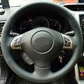 Negro de Cuero cosido A Mano Cubierta Del Volante Del Coche para Subaru Forester Impreza 2008-2012 2008-2011 Legado 2008-2010 Exiga 2