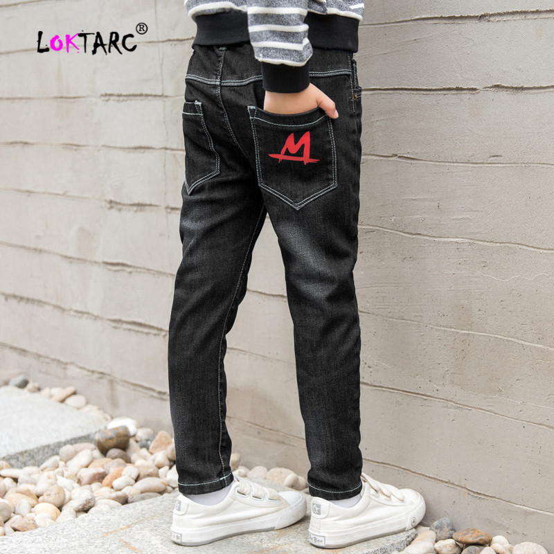 LOKTARC Teen Boys' Denim Pants Elastic Waist Letter Printing Straight Baby Boy Jeans Pants Casual  Children's Trousers for a Boy(China)