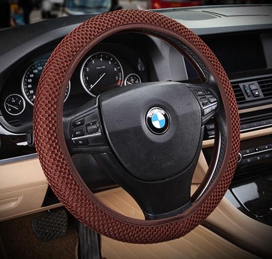 Summer Ventilate Car Steering Wheel Cover Eyelet Fabric Universal Fit for All Sedan Anti Hot High Performance Mesh 36cm 38cm 1pc