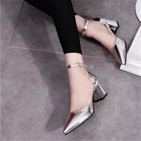 Fashion High Heeled Shoes Silver Patent Leather Button Belt Pointed Toe Sandals Personalized Fashion Summer Thick