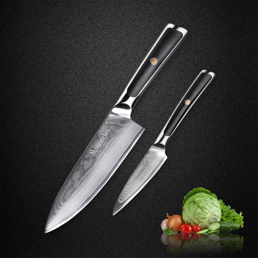 SUNNECKO 2 pcs Chef Couteau Cuisine Couteaux Set 73 Couches Japonais VG10 Base En Acier de Damas Rasoir Lame Tranchante G10 Poignée couteau Ensembles