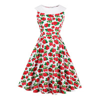 Sisjuly Women S Vintage Dress 2017 Summer Red Strawberry Print Sleeveless O Neck Vintage Dress Elegant