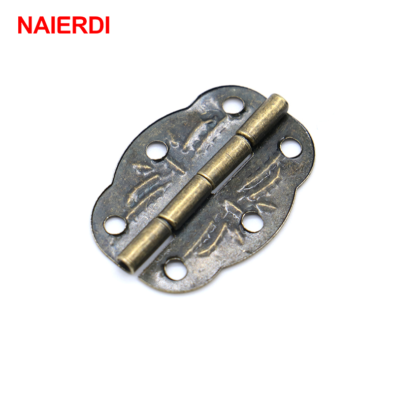 NAIERDI 20pcs Bronze Cabinet Hinges Decoration Jewelry Box Hinge With Screw For Vintage Door Cabinet Drawer Furniture FittingsNAIERDI 20pcs Bronze Cabinet Hinges Decoration Jewelry Box Hinge With Screw For Vintage Door Cabinet Drawer Furniture Fittings