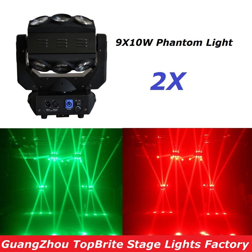 Spedizione gratuita di alta qualità 2XLot PIÙ RECENTE 9X10W LED Lampada a testa mobile RGBW 4in1 Luce ad effetto fantasma per proiettore laser di Natale